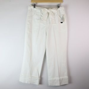 LARRY LEVINE White Linen Cropped Ankle Pants - 8